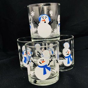 Vintage Lucky Thailand Snowman Low Ball Tumblers